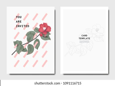 Botanical invitation card template design, red Japanese camellia flowers and leaves with pink oblique rectangle shapes on grey background, minimalist vintage style