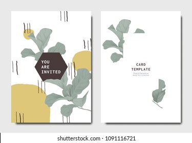 Botanical invitation card template design, green fiddle leaf fig with hand drawn doodle graphics on white background, minimalist vintage style