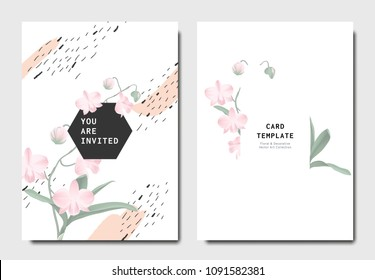 Botanical invitation card template design, pink Dendrobium orchid flowers with hand drawn doodle graphics on white background, minimalist vintage style