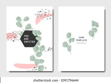 Botanical invitation card template design, green Silver Dollar Eucalyptus leaves with hand drawn doodle graphics on white background, minimalist vintage style