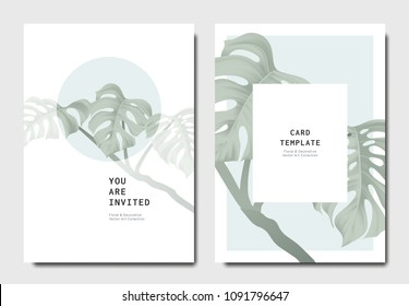 Botanical invitation card template design, green split-leaf Philodendron plant on blue and white background, minimalist vintage style