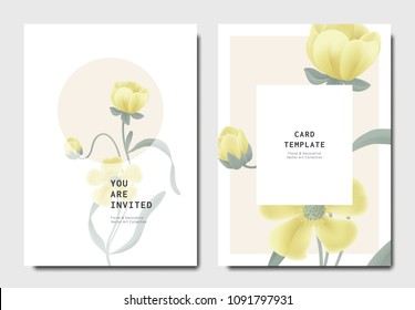 Botanical invitation card template design, yellow wildflower on pink and white background, minimalist vintage style