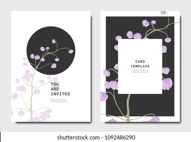 Botanical invitation card template design, purple Thalictrum delavayi flowers on black and white background, minimalist vintage style