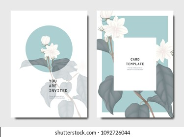 Botanical invitation card template design, white jasmine flowers with leaves on blue and white background, minimalist vintage style