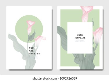 Botanical invitation card template design, pink calla lily flowers with leaves on green and white background, minimalist vintage style