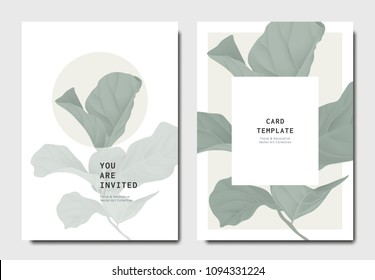 Botanical invitation card template design, green fiddle leaf fig on grey and white background, minimalist vintage style