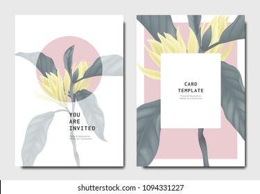 Botanical invitation card template design, white Champaka flowers with leaves on pink and white background, minimalist vintage style
