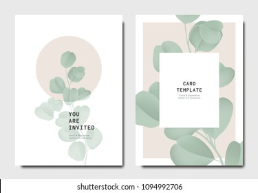 Botanical invitation card template design, green Silver Dollar Eucalyptus leaves on brown and white background, minimalist vintage style