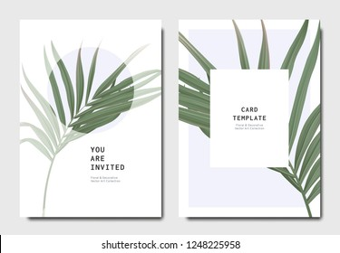 Botanical invitation card template design, bamboo palm on light blue background, minimalist vintage style
