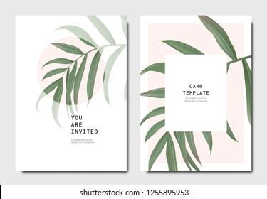 Botanical invitation card template design, bamboo palm on light red background, minimalist vintage style