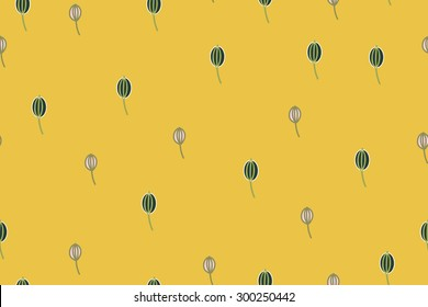 Botanical leaves on oyster yellow background vector seamless pattern