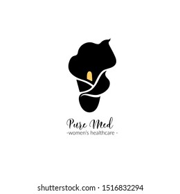 a botanical logo template with a calla lily silhouette; black and white elegant, stylish identity / graphic design element for women's health clinic, also beauty salon, cosmetic company, organic shop