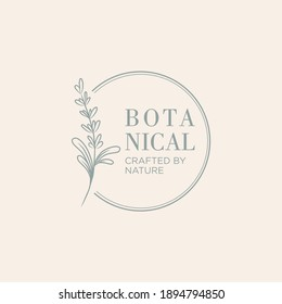 Botanical logo template design. Vector floral hand drawn logo template in elegant and minimal style