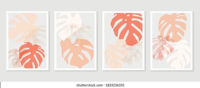 Botanical Monstera wall art vector set. Earth tone boho foliage line art drawing with  abstract shape.  Abstract Plant Art design for print, cover, wallpaper, Minimal and  natural wall art.