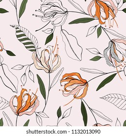 Botanical motifs. Isolated seamless flower pattern. Vintage background. Wallpaper.  Hand drawn. Vector illustration.