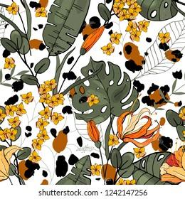 Botanical motifs. Isolated seamless flower pattern. Vintage background. Wallpaper.  Hand drawn. Vector illustration.