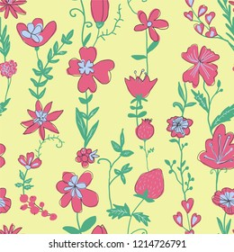 Botanical multi-colored seamless pattern with naive colors. Vector illustration.Simple children's drawing. Template for Wallpaper, postcard, paper, fabric, web page.