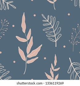 Botanical pattern with blue background, spring seamless pattern. Vector Illustration