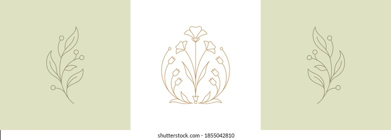 Botanical plant twigs and tender flower in boho linear style vector illustrations set. Bohemian emblems in lines with flowers and leaves symbol for gardering logo and cosmetics packaging