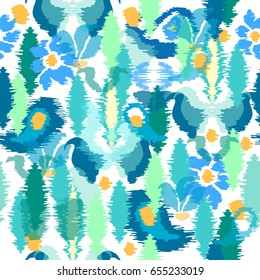Botanical print with batik design. Seamless vector pattern with Indonesian motifs. Blue geometric elements on white background. Ethnic textile collection.