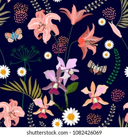 Botanical print with blooming lilies, orchids and chamomiles. Seamless vector pattern with tropical plants.  Trendy design with oriental art motifs. On black background.