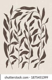 Botanical print boho minimalist printable wall art abstract home decor floral print bohemian art work, vector