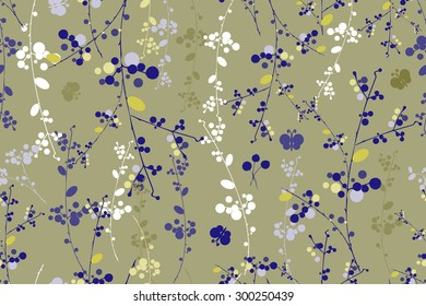 Botanical royal blue and yellow garland vector seamless pattern