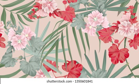 Botanical seamless pattern, Alcea or hollyhocks flowers and palm leaves on brown, pastel vintage theme