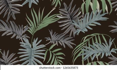 Botanical seamless pattern, bamboo palm and Philodendron bipinnatifidum on dark brown, pastel vintage theme