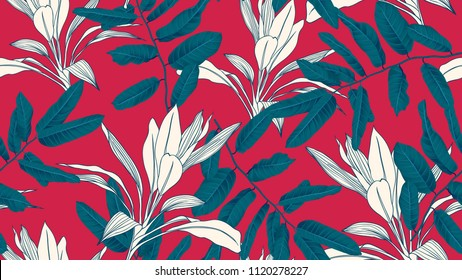 Botanical seamless pattern, blue leaves on red background, blue and red tones