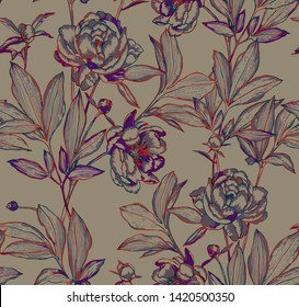 Botanical seamless pattern. Elegant peonies, buds and leaves. Contour drawing, etching graphic technique, embroidery illusion. Vintage line art background with beautiful flowers for textile and fabric
