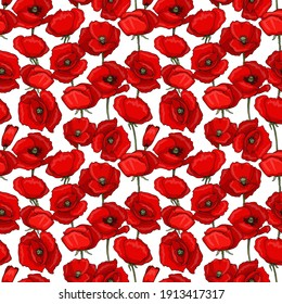 Botanical seamless pattern. The field is covered with red poppies. Flowers in different positions. Objects are isolated on a white background. Cute doodle style.