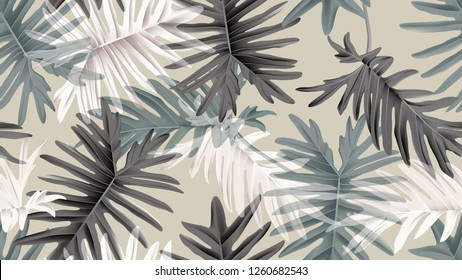 Botanical seamless pattern, green, black and white Philodendron bipinnatifidum on light brown, pastel vintage theme
