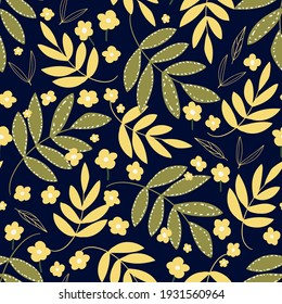 Botanical seamless pattern with leaves and flowers. Floral abstract print design for wallpaper, wrap paper or fabric. Vector hand drawn background.