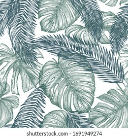 Botanical seamless pattern with leaves of tropical plants on white background. Hand-drawn outlines was converted in vector image. Exotic plants mint green colour. Jungle foliage illustration. Paradise
