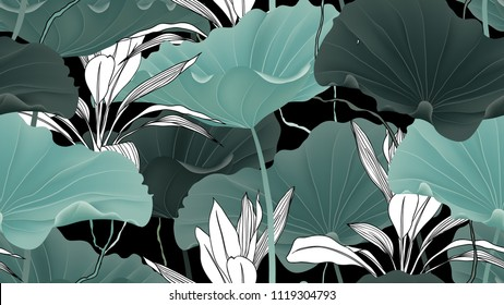Botanical seamless pattern, lotus leaves, plants and vines on black background