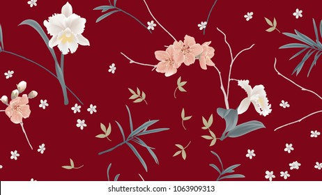 Botanical seamless pattern, orchid, sakura flowers and leaves on red background