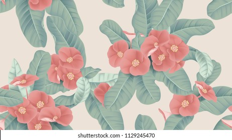 Botanical seamless pattern, red Euphorbia milii flowers and leaves on light brown background, pastel vintage theme