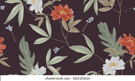 Botanical seamless pattern, red and white paenia lactiflora flowers and leaves on dark pink background