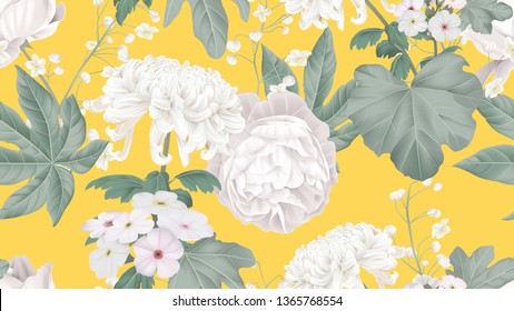 Botanical seamless pattern, rose, Chrysanthemum morifolium, Woolly rock jasmine and Thalictrum delavayi with leaves on bright yellow, pastel vintage theme