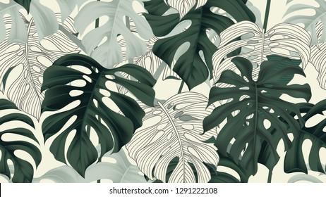 Botanical seamless pattern, split-leaf Philodendron plant on light yellow, pastel vintage theme