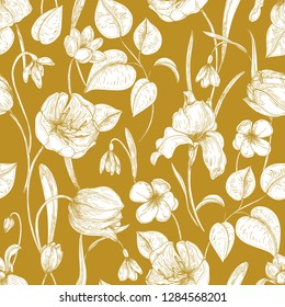 Botanical seamless pattern with spring blooming garden flowers hand drawn with contour lines on yellow background. Backdrop with seasonal flowering plants. Natural vector illustration for wallpaper.