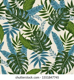 Botanical seamless pattern with tropical plants and leaves on white background. Illustration in Hawaiian style. Jungle leaves. Exotic wallpaper. Vector background for various surface.
