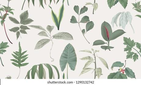Botanical seamless pattern, various green leaves on light brown, pastel vintage theme