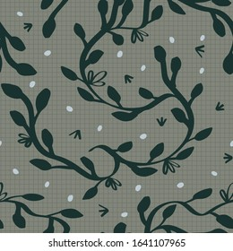 Botanical seamless pattern with vine, flowers and seeds vector clipart for rustic, traditional style book end decoration, bedding fabric or textile print.