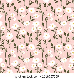 Botanical seamless pattern with wild  flowers in pastel colors.  print pattern