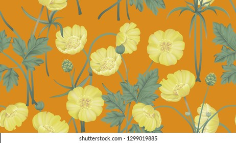 Botanical seamless pattern, yellow creeping buttercup flowers with leaves on orange, pastel vintage theme