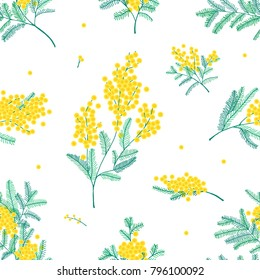 Botanical seamless pattern with yellow mimosa flowers and leaves on white background. Backdrop with elegant flowering plants. Natural vector illustration for textile print, wallpaper, wrapping paper.