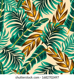 Botanical seamless tropical pattern with bright plants and leaves on a beige background. Exotic tropics. Summer.