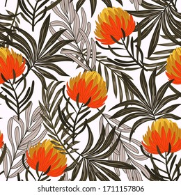 Botanical seamless tropical pattern with bright plants and flowers on a white background.  Vintage pattern.  Exotic tropics. Summer.   Vector design. Jungle print. Floral background.